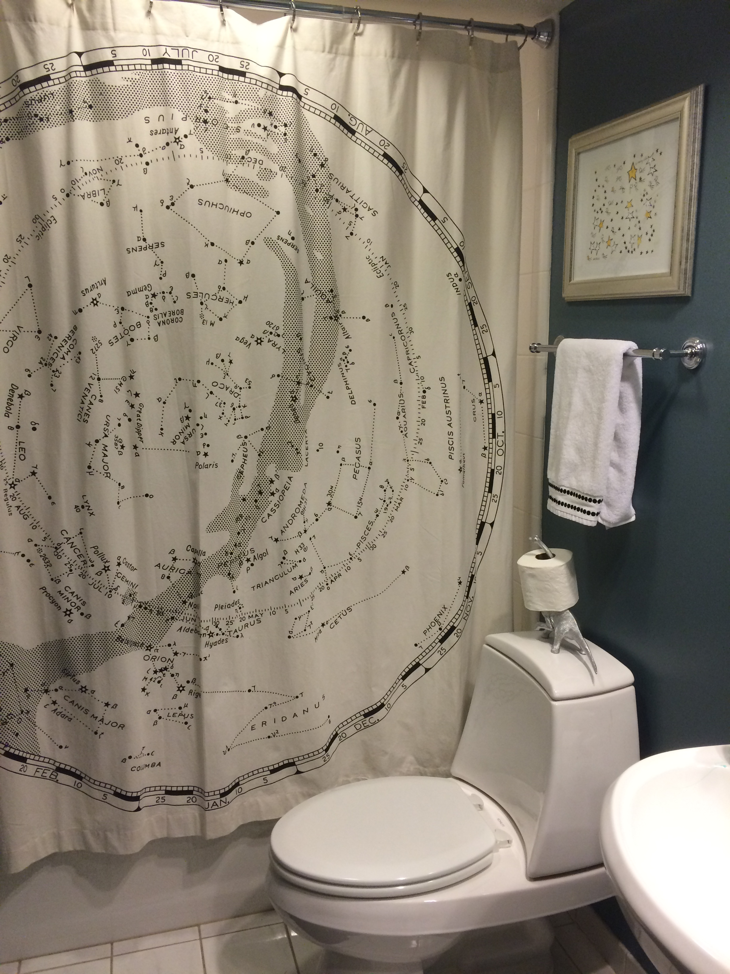 The Shower Curtain Came From Urban Outfitters I Chose These Pottery Barn Towels Because Dots Coordinated With Constellation In